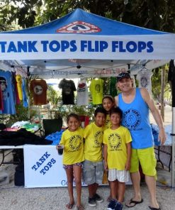 Mike with kids wearing Tank Tops Flip Flops T shirts